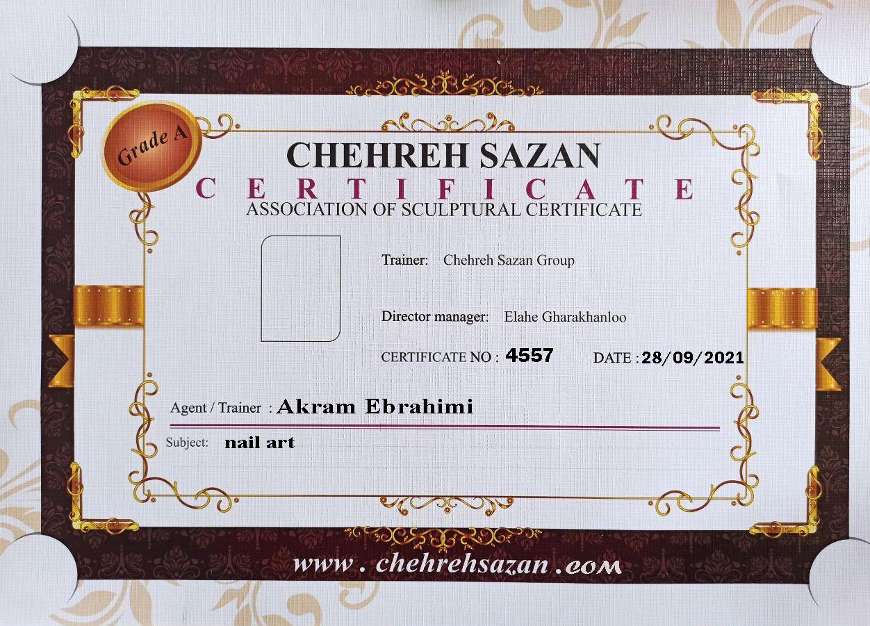 اکرم ابراهیمی, مدرک آموزشی کاشت ناخن , مدرک کاشت ناخن , آموزش کاشت ناخن , مدرک آموزشی کاشت ناخن اکرم ابراهیمی ، مدرک کاشت ناخن اکرم ابراهیمی